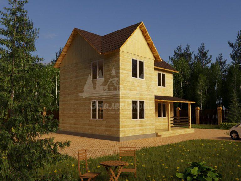 Проект двухэтажного дома из бруса 10х8 (БР-136-1) Фасад 1