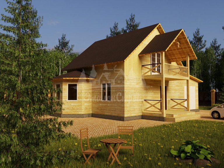 Проект двухэтажного дома из бруса 10х8 с гаражом, эркером и балконом (БР-104-1) Фасад 1