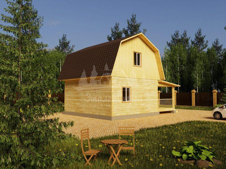 Проект двухэтажного дома из бруса 7х6 (БР-66-1) Фасад 1