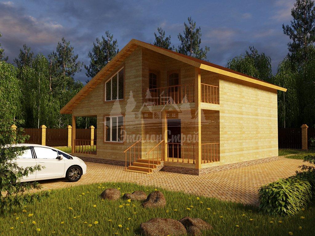 Проект двухэтажного дома из бруса 8х10 (БР-144-1) Фасад 2