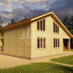 Проект двухэтажного дома из бруса 8х10 (БР-144-1) Фасад 3