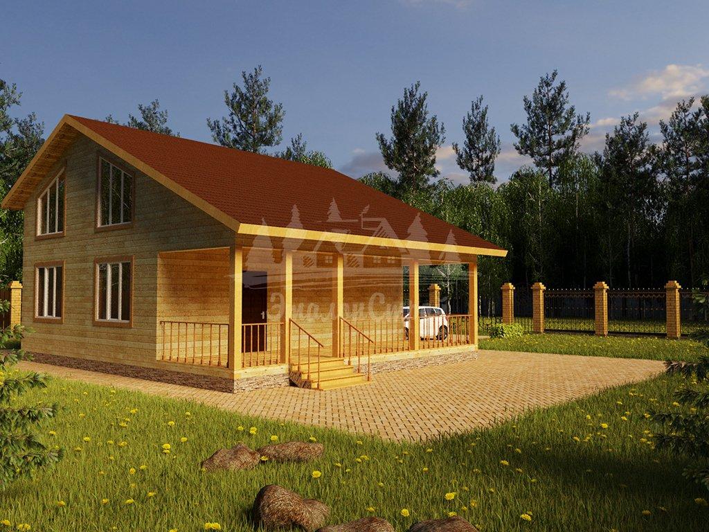 Проект двухэтажного дома из бруса 8х10 (БР-144-1) Фасад 4