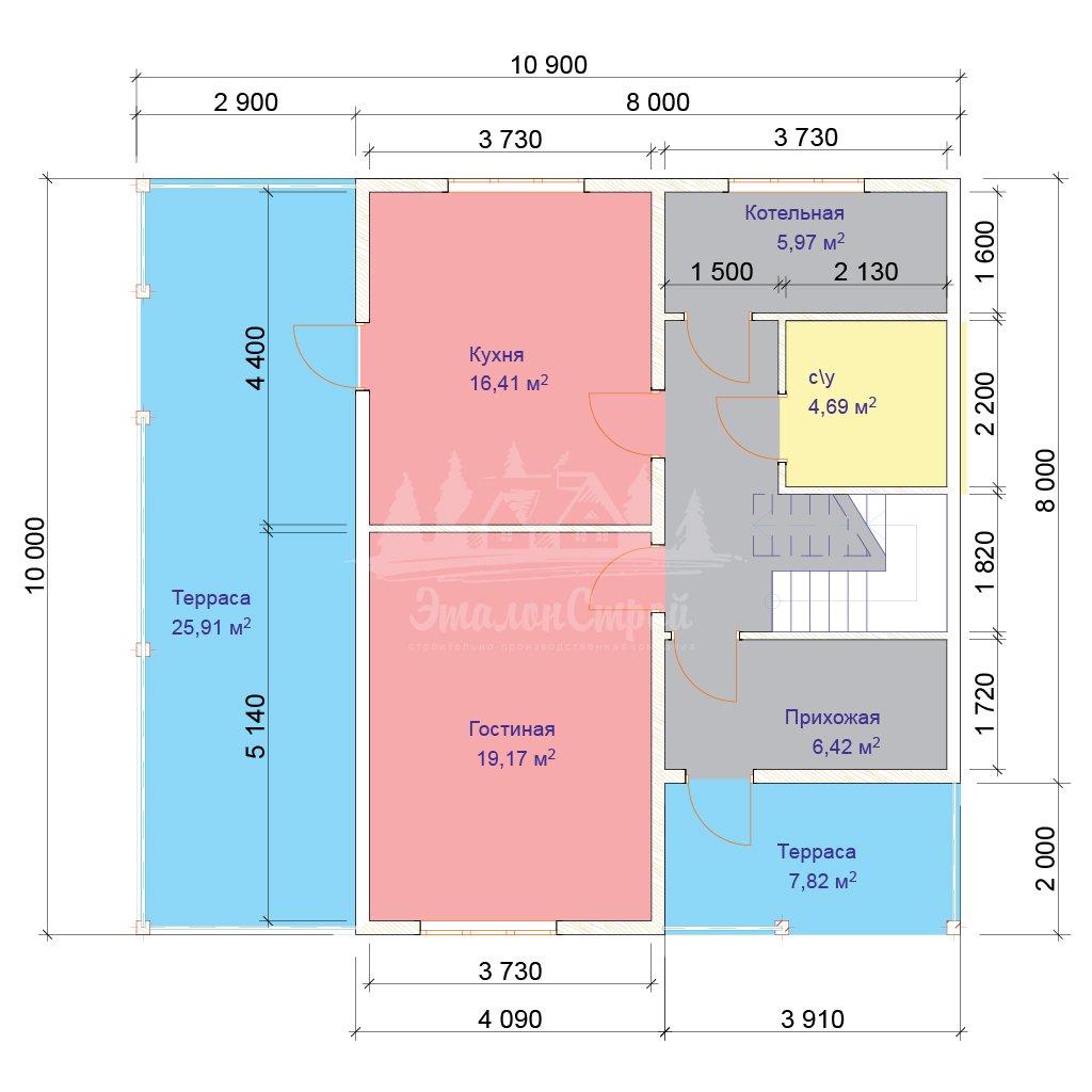 Проект двухэтажного дома из бруса 8х10 (БР-144-1) Планировка 1 этажа