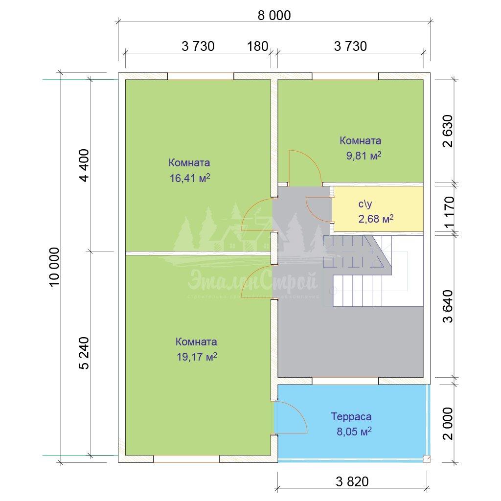 Проект двухэтажного дома из бруса 8х10 (БР-144-1) Планировка 2 этажа