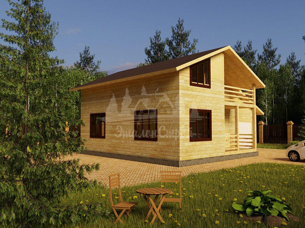 Проект двухэтажного дома из бруса 8х10 с гаражом (БР-144-2)