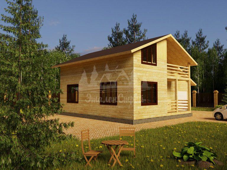 Проект двухэтажного дома из бруса 8х10 с гаражом (БР-144-2) Фасад 1