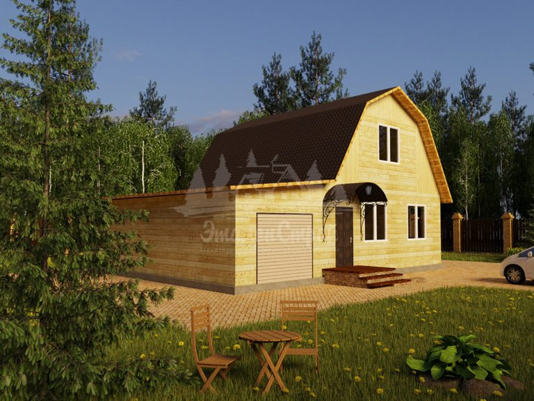 Проект двухэтажного дома из бруса 8х10,5 с гаражом (БР-106-2) Фасад 1