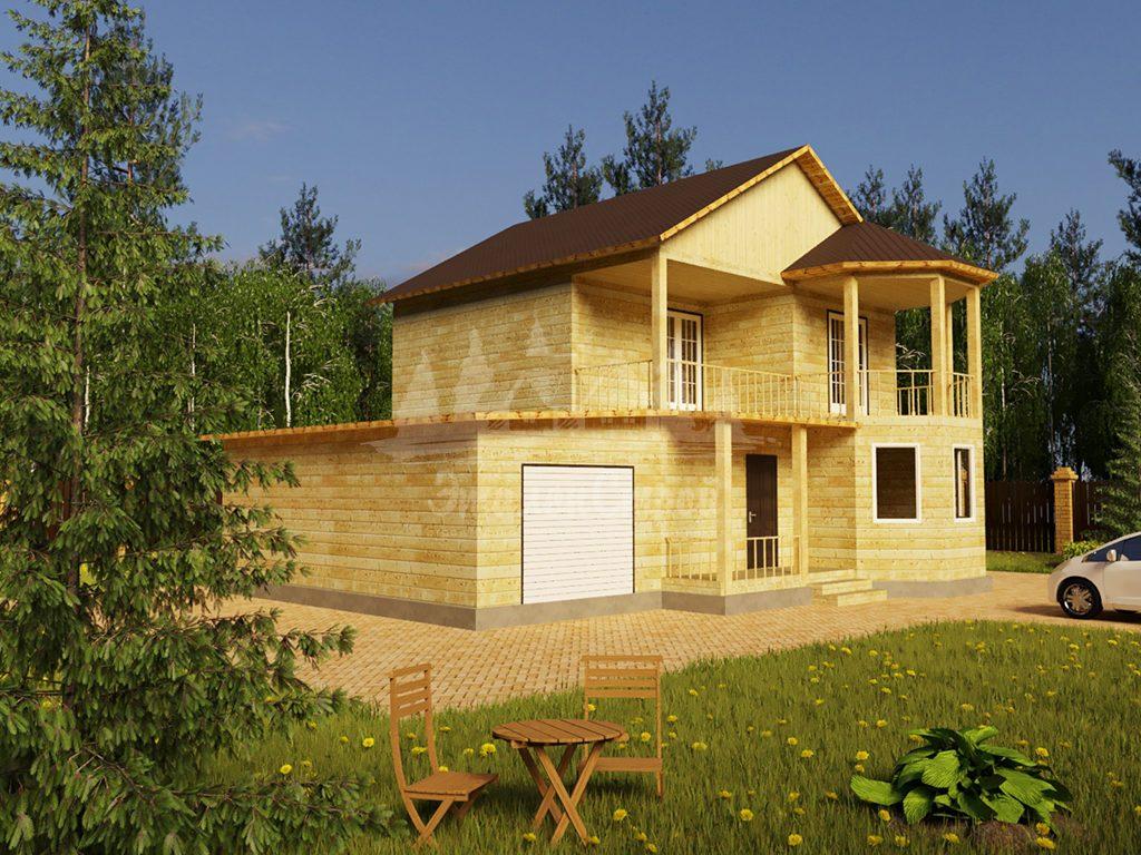 Проект двухэтажного дома из бруса 8х10,5 с гаражом (БР-130-1) Фасад 1