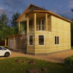 Проект двухэтажного дома из бруса 8х10,5 с гаражом (БР-130-1) Фасад 2