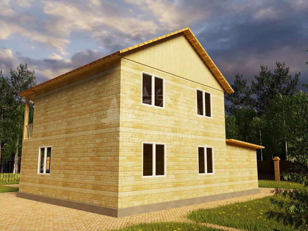 Проект двухэтажного дома из бруса 8х10,5 с гаражом (БР-130-1) Фасад 3