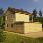 Проект двухэтажного дома из бруса 8х10,5 с гаражом (БР-130-1) Фасад 4