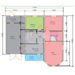 Проект двухэтажного дома из бруса 8х10,5 с гаражом (БР-130-1) Планировка 1 этажа