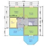 Проект двухэтажного дома из бруса 8х10,5 с гаражом (БР-130-1) Планировка 2 этажа