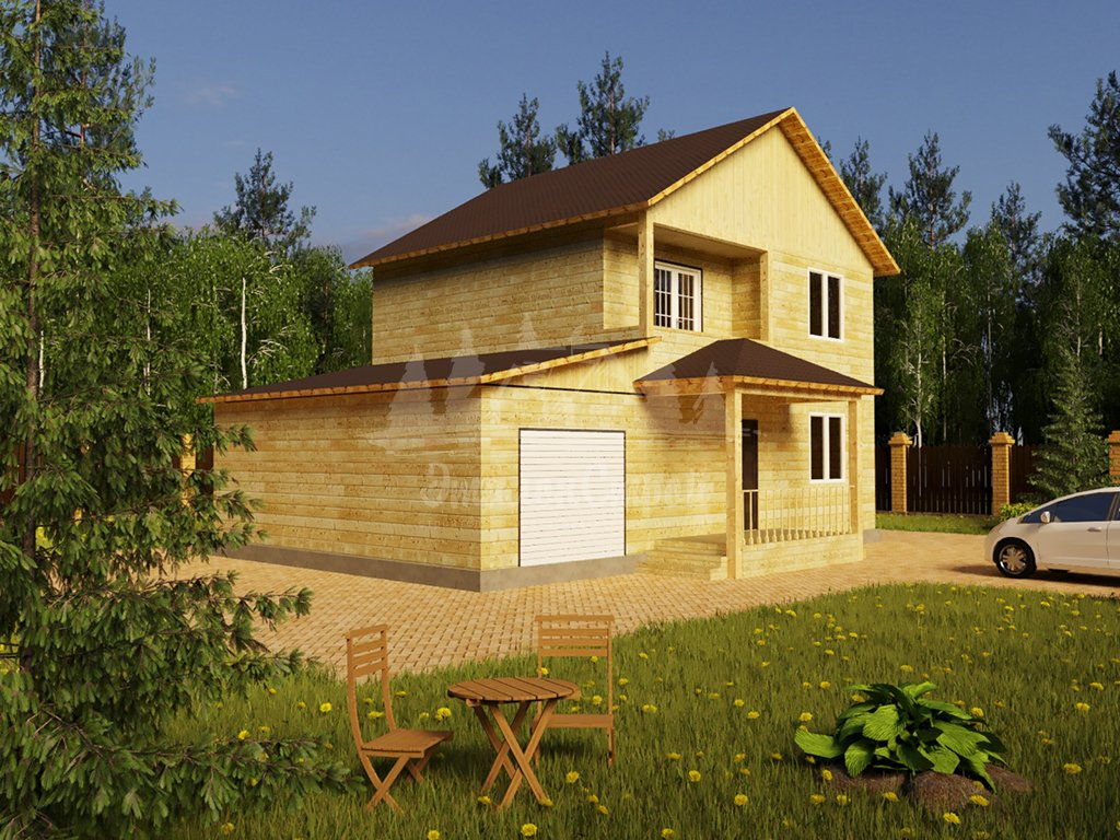 Проект двухэтажного дома из бруса 8х8 с гаражом (БР-124-1) Фасад 1