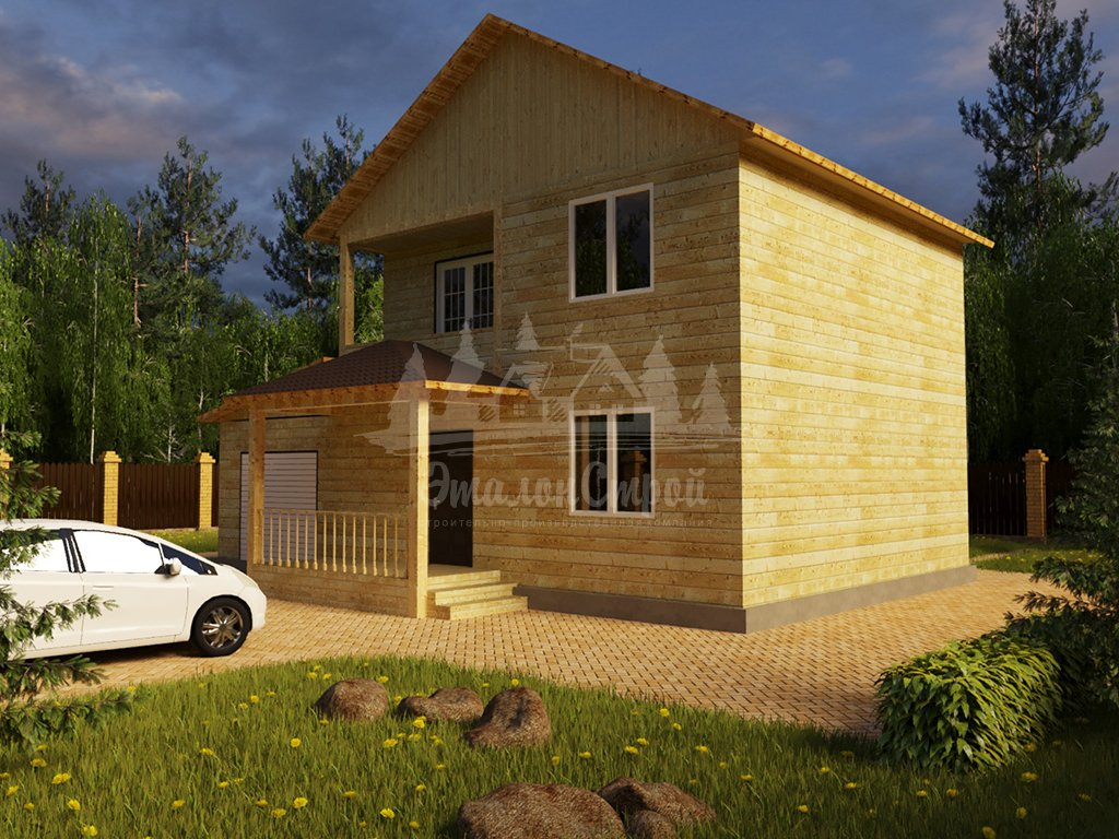 Проект двухэтажного дома из бруса 8х8 с гаражом (БР-124-1) Фасад 2