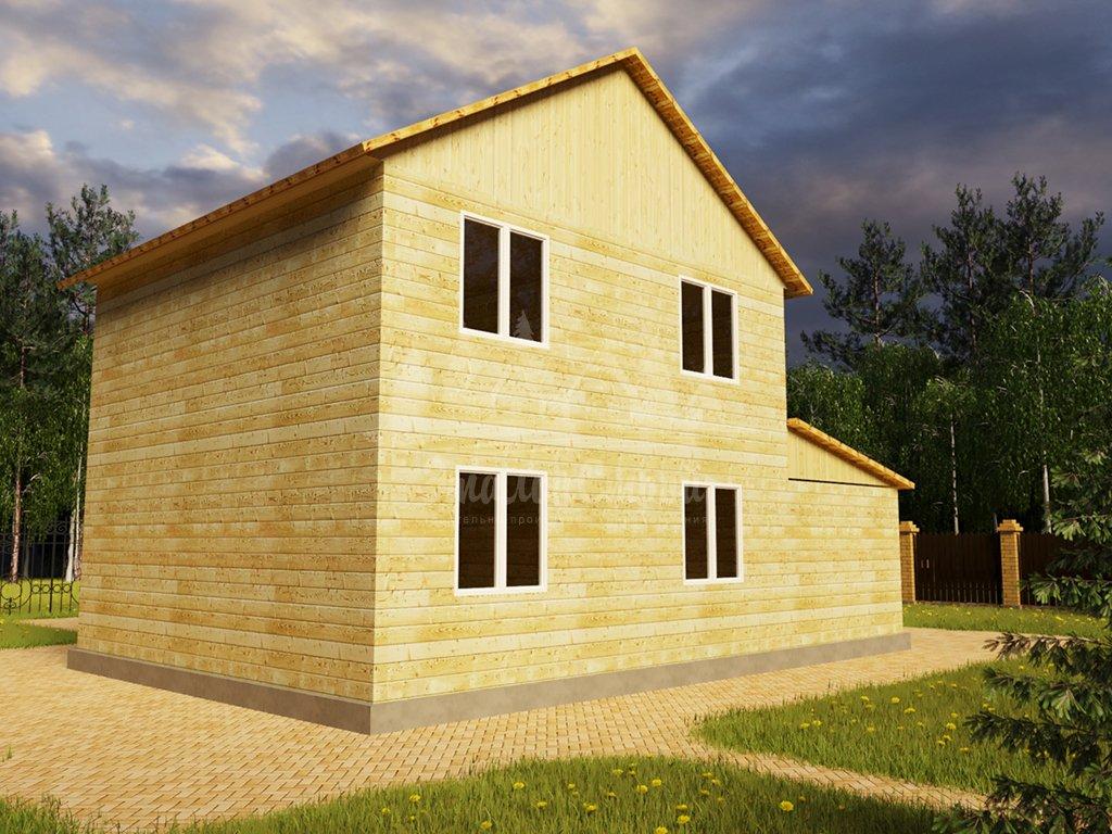 Проект двухэтажного дома из бруса 8х8 с гаражом (БР-124-1) Фасад 3