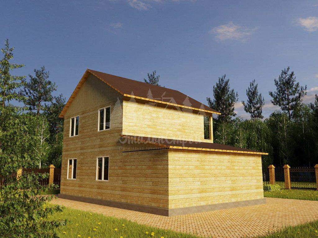 Проект двухэтажного дома из бруса 8х8 с гаражом (БР-124-1) Фасад 4