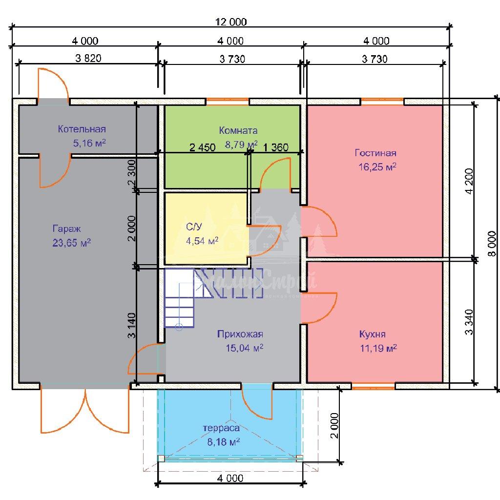 Проект двухэтажного дома из бруса 8х8 с гаражом (БР-124-1) Планировка 1 этажа