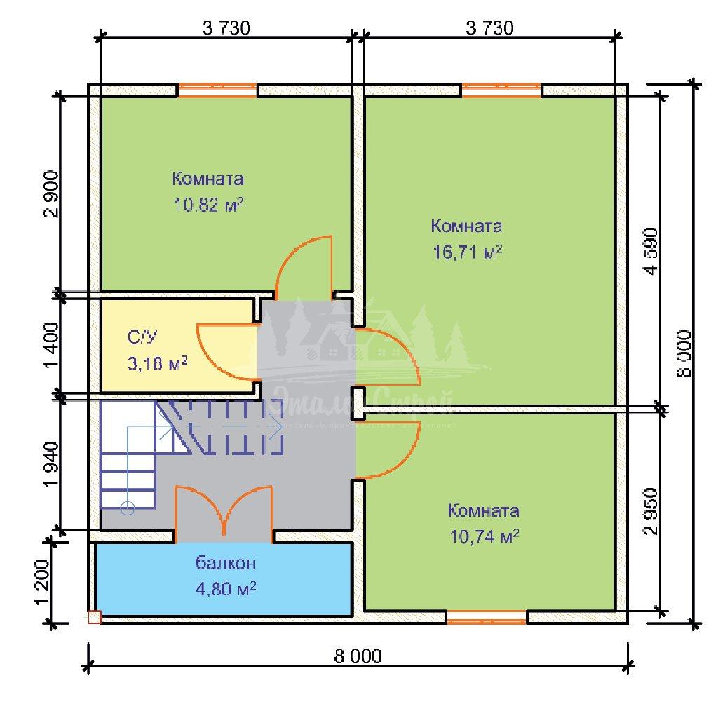 Проект двухэтажного дома из бруса 8х8 с гаражом (БР-124-1) Планировка 2 этажа
