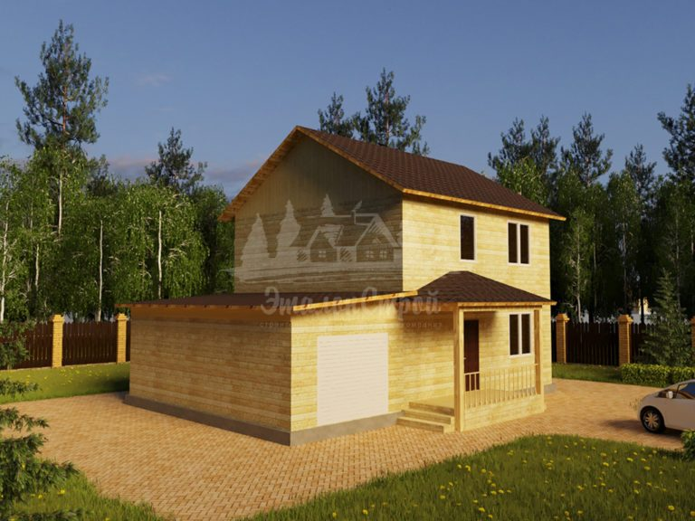 Проект двухэтажного дома из бруса 8х8 с гаражом (БР-128-1) Фасад 1