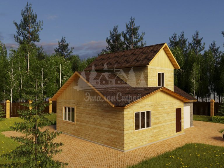 Проект двухэтажного дома из бруса 8х9 с гаражом (БР-104-2) Фасад 1