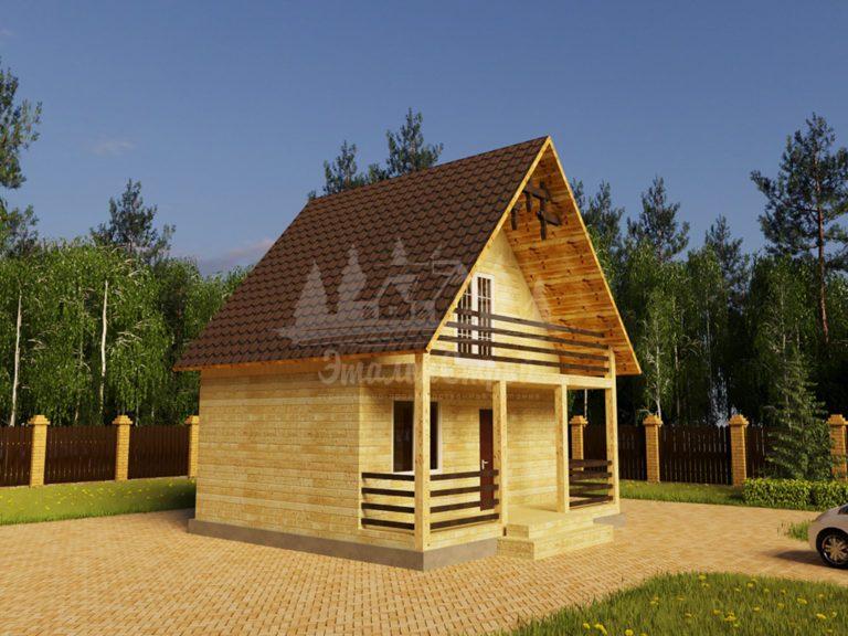 Проект двухэтажного дома с балконом из бруса 6х7,5 (БР-60-1) Фасад 1