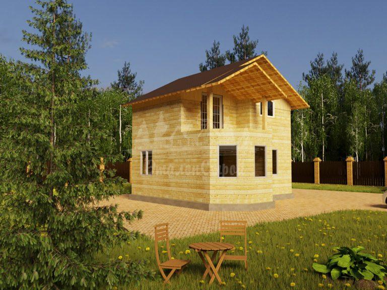 Проект двухэтажного дома с эркером и балконом из бруса 5,5х7,5 (БР-63-1) Фасад 1