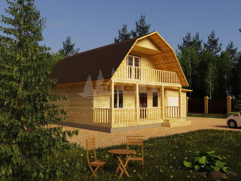 Проект двухэтажного дома с гаражом и балконом из бруса 8х8 (БР-96-1) Фасад 1