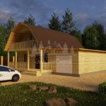 Проект двухэтажного дома с гаражом и балконом из бруса 8х8 (БР-96-1) Фасад 2