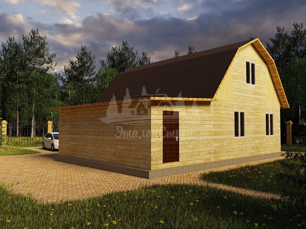 Проект двухэтажного дома с гаражом и балконом из бруса 8х8 (БР-96-1) Фасад 3