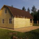 Проект двухэтажного дома с гаражом и балконом из бруса 8х8 (БР-96-1) Фасад 4