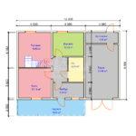 Проект двухэтажного дома с гаражом и балконом из бруса 8х8 (БР-96-1) Планировка 1 этажа