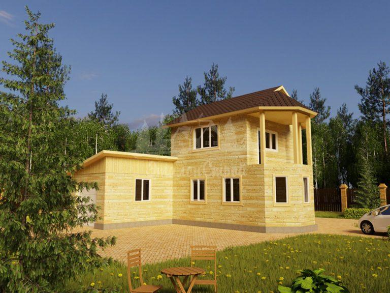 Проект двухэтажного дома с гаражом из бруса 6х8 (БР-87-1) Фасад 1