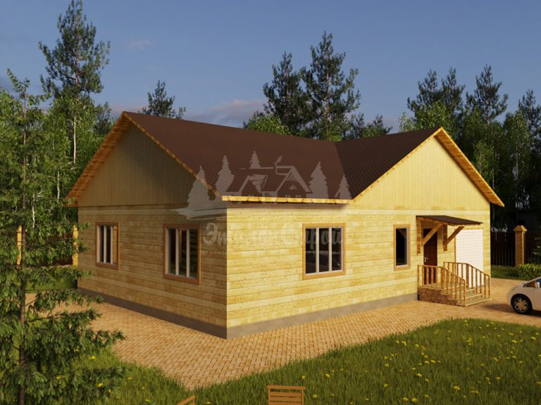 Проект одноэтажного дома из бруса 11х10 с гаражом (БР-110-1) Фасад 1