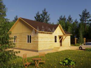 Проект одноэтажного дома из бруса 12х10 (БР-120-1) Фасад 1