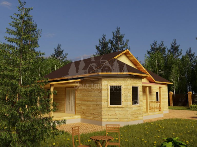 Проект одноэтажного дома из бруса 12х10,6 с гаражом (БР-105-1) Фасад 1