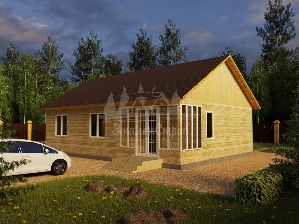 Проект одноэтажного дома из бруса 12х9 (БР-100-2) Фасад 2