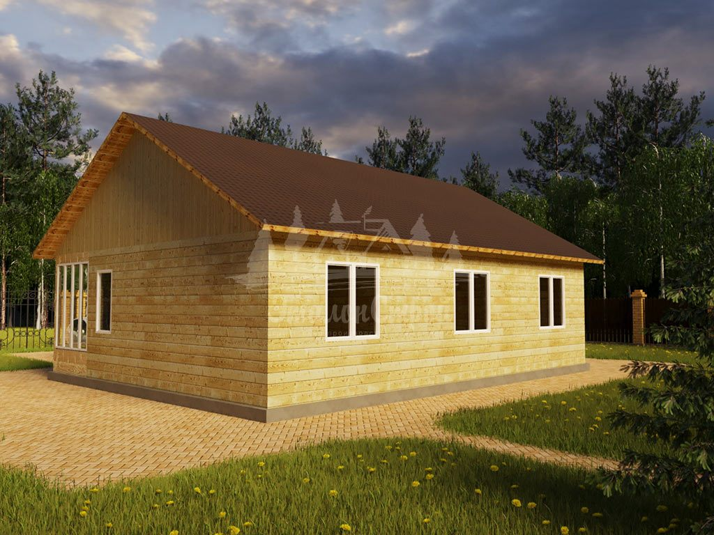 Проект одноэтажного дома из бруса 12х9 (БР-100-2) Фасад 3