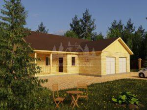 Проект одноэтажного дома из бруса 15х10,5 с гаражом (БР-120-3) Фасад 1