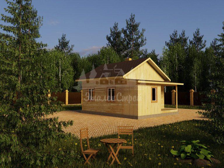 Проект одноэтажного дома из бруса 6х7,5 (БР-36-1) Фасад 1