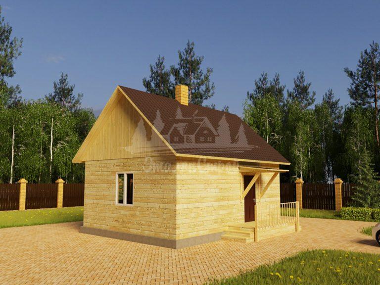 Проект одноэтажного дома из бруса 6х8 (БР-48-3) Фасад 1