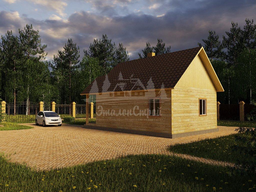 Проект одноэтажного дома из бруса 6х8 (БР-48-4) Фасад 3