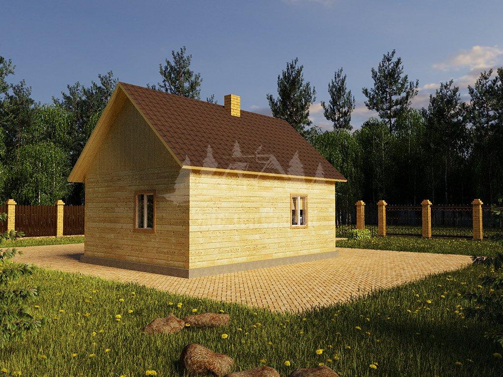 Проект одноэтажного дома из бруса 6х8 (БР-48-4) Фасад 4