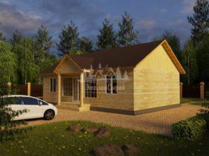 Проект одноэтажного дома из бруса 8х12 (БР-96-2) Фасад 1