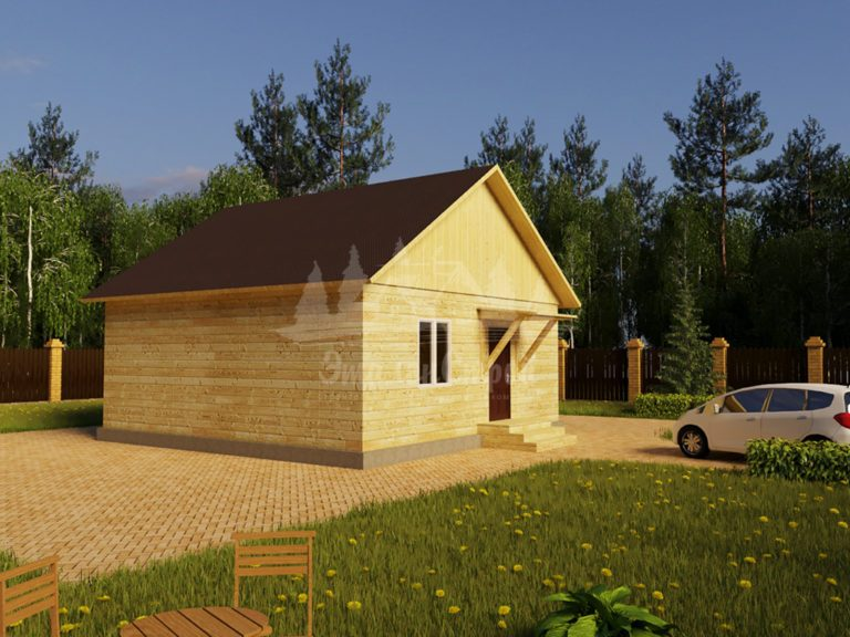 Проект одноэтажного дома из бруса 8х8 (БР-64-1) Фасад 1