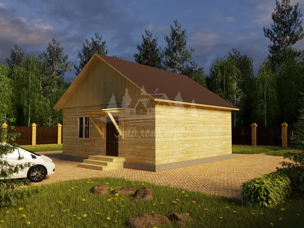 Проект одноэтажного дома из бруса 8х8 (БР-64-1) Фасад 2