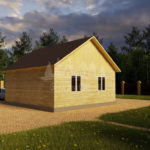 Проект одноэтажного дома из бруса 8х8 (БР-64-1) Фасад 3