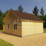 Проект одноэтажного дома из бруса 8х8 (БР-64-1) Фасад 4
