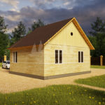 Проект одноэтажного дома с эркером из бруса 7х8 (БР-56-1) Фасад 3