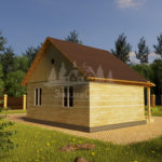Проект одноэтажного дома с эркером из бруса 7х8 (БР-56-1) Фасад 4